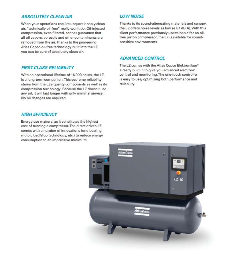 Atlas Copco LZ premium oil-free piston air compressor
